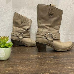 Frye Moto Grey/tan chunky Heeled boots Size 6